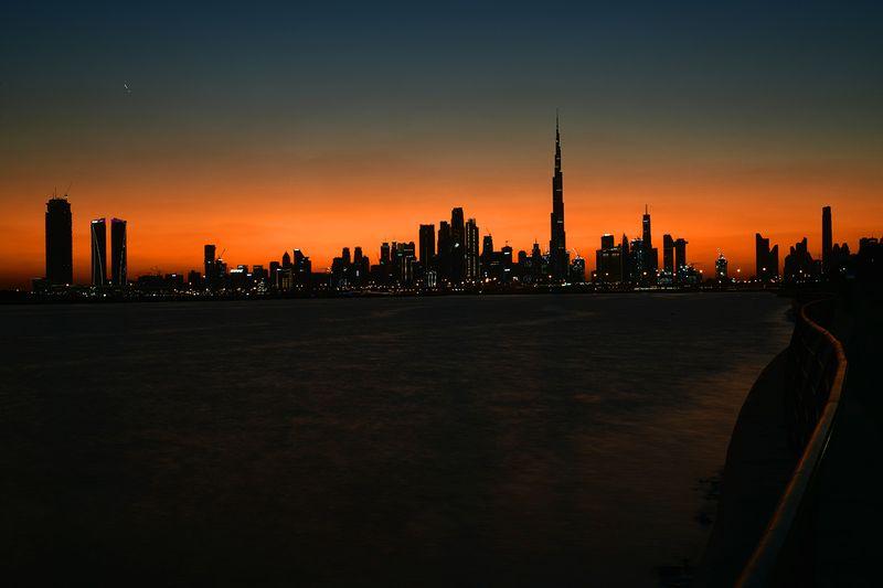 A view of Dubai skyline during dusk