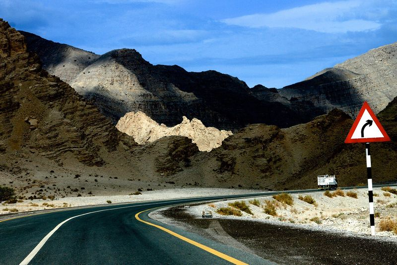 A view of the road towards Jebel Jais mountain