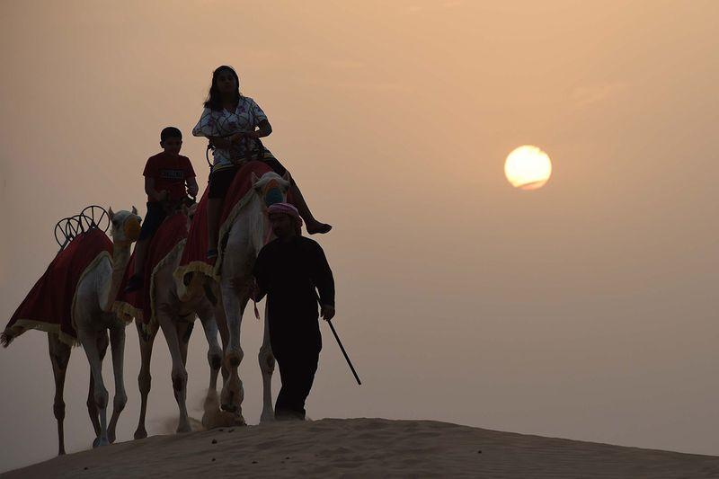 Tourists enjoy a camel ride at a desert camp in Dubai