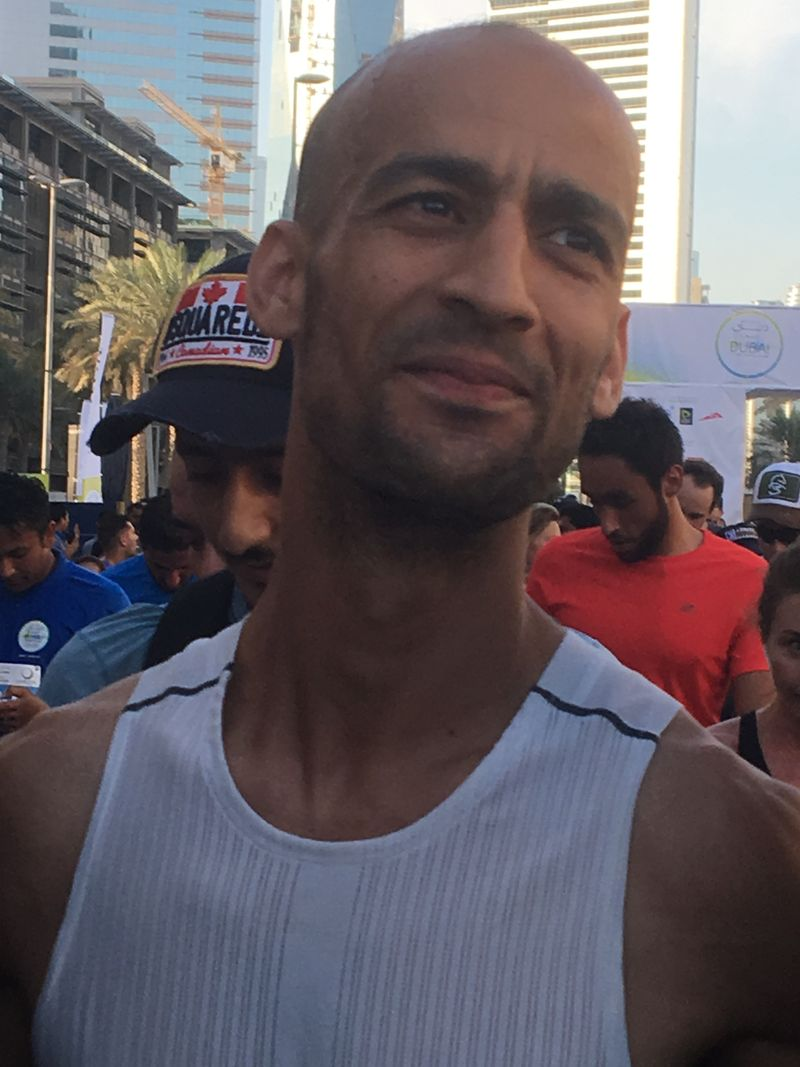 Winner of the men's 10-km Dubai Run Morocco's Samir Jouaher