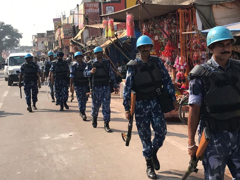 Paramilitary forces patrol Ayodhya on Saturday morning, November 9, 2019.