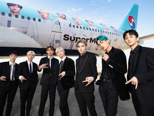 SuperM - left to right - Ten, Baekhyun, Lucas, Taemin, Taeyong, Kai and Mark-1573303355867