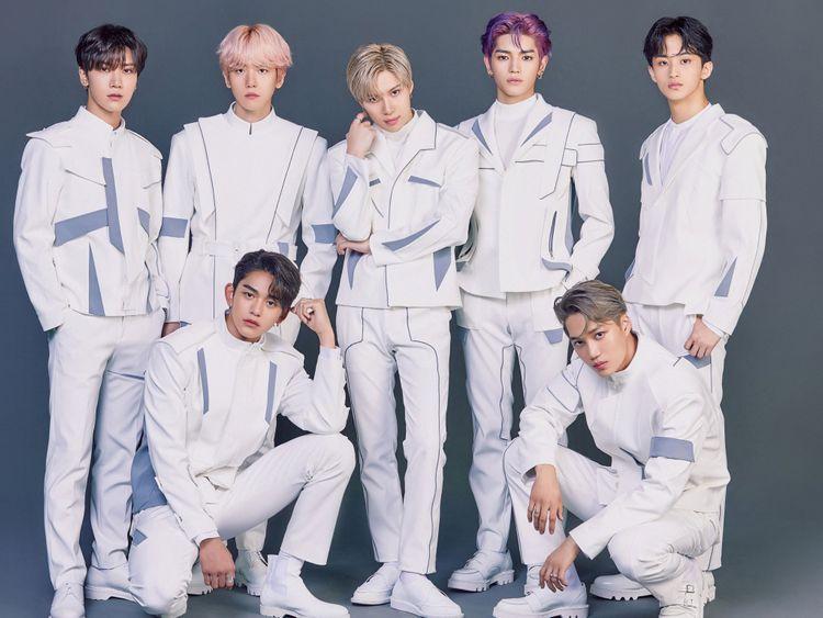 SuperM - left to right - Ten, Lucas, Baekhyun,Taemin, Taeyong, Kai, and Mark-1573303359285
