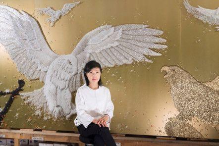 WKR 191107 Korean artist Ran Hwang with her work titled, Freedom.-1573296555032