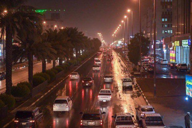 A scene on UAE road during rain.