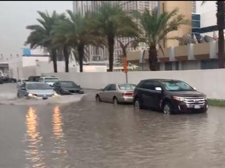 A water-logged street outside Gulf News 12121