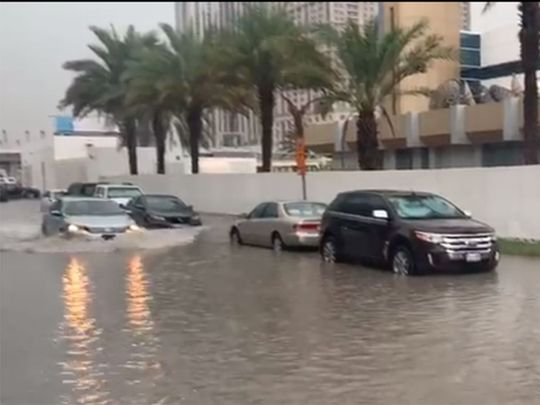 A water-logged street outside Gulf News 12121
