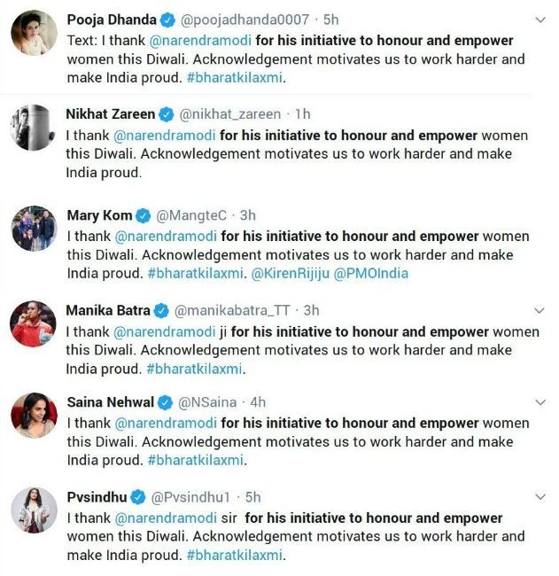 The same tweets  by athletes on Modi
