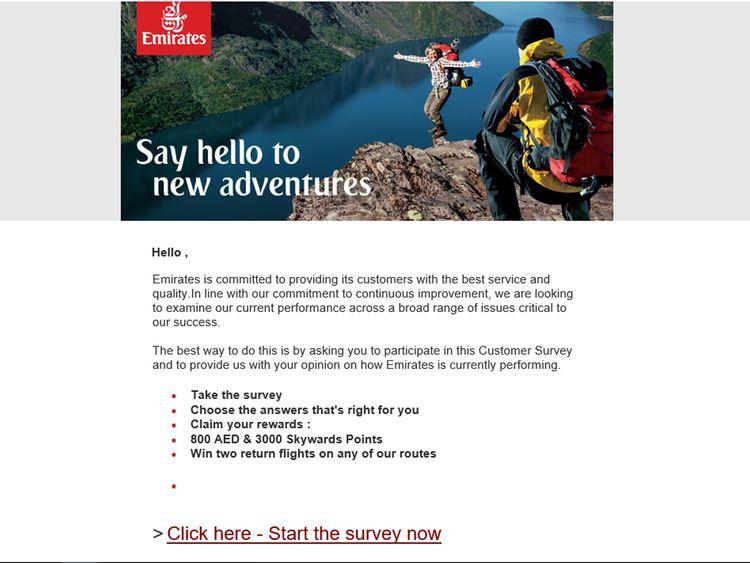 Emirates fake newsletter spam