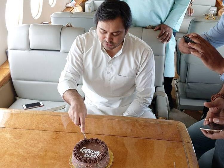 Tejaswi Yadav draws flak for b'day celebration in plane