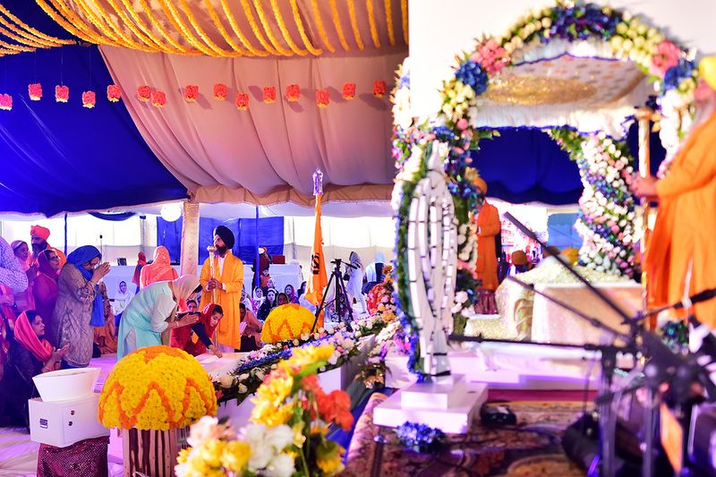 Sikhs residing in Dubai gather at the Gurunanak Darbar Sikh Gurudwara