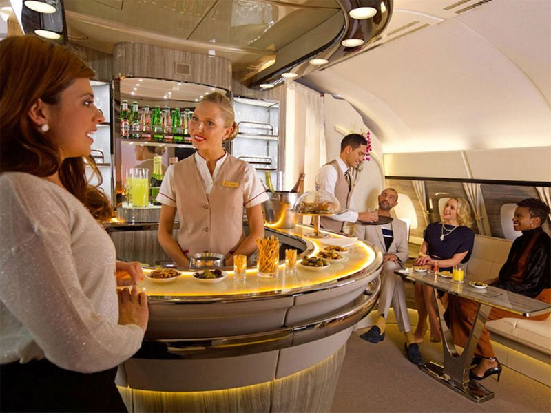 Premium flyers enjoy Emirates' lounge on board the A380