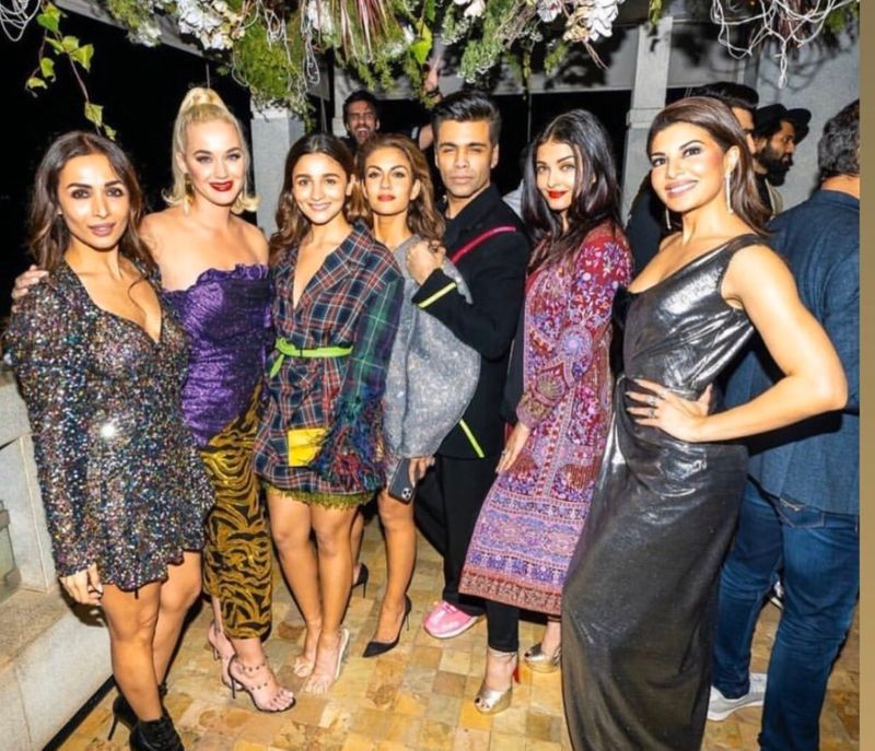 Katy Perry with Bollywood stars at Karan Johar's party.