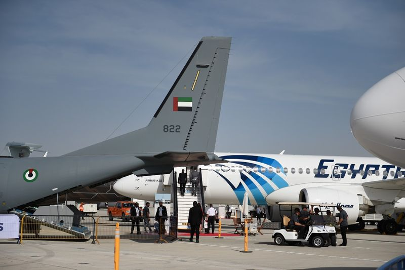 EgyptAir aircraft on display at Dubai Airshow