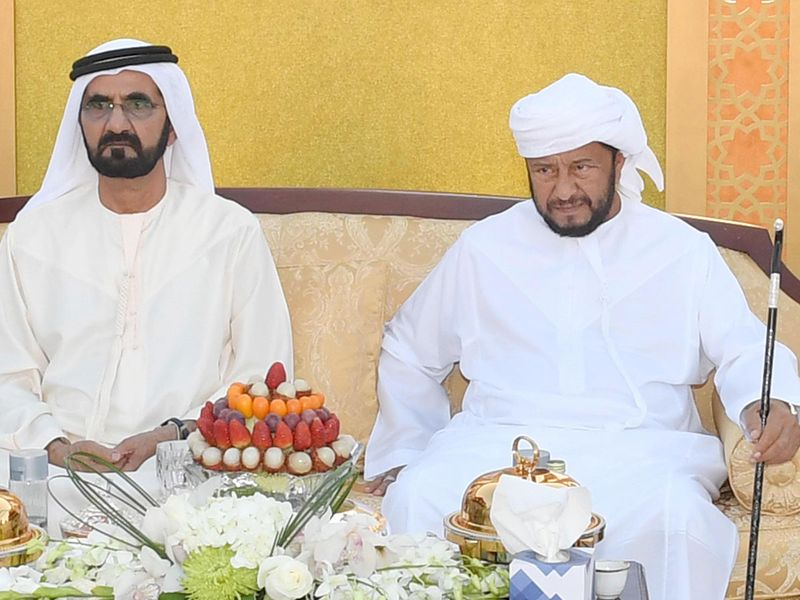 Shaikh Mohammad bin Rahis al Maktoum with Sheikh Sultan bin Zayed Al Nahyan during a reception in Dubai
