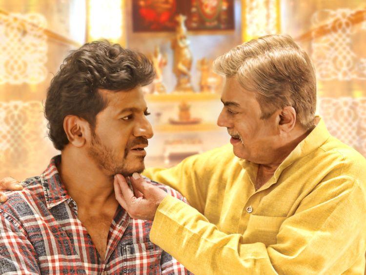 Shiva Rajkumar with Anant Nag in a scene from Ayushman Bhava-1574230210543