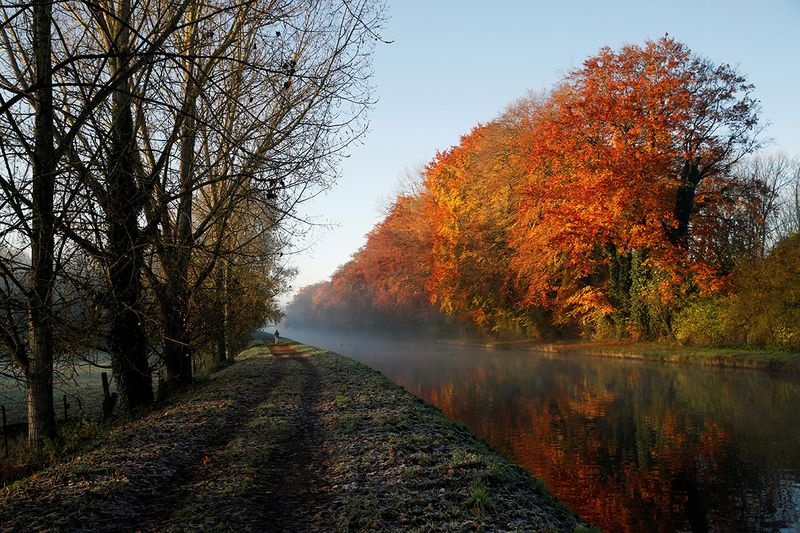A man walks along the canal as golden, green and rusty leaves colour the autumn in Thun-Leveque, France.
