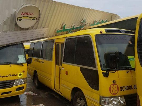 Ajman Police damaged buses