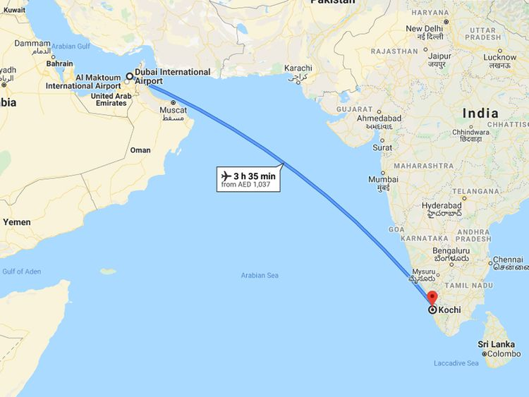 Dubia to Kochi Google Maps