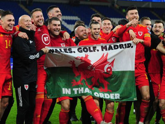 Gareth Bale parties with his Wales teammates.