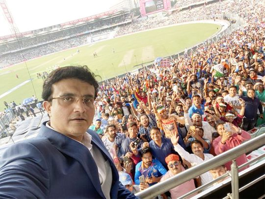 Ganguly shares selfie with Eden Gardens' crowd
