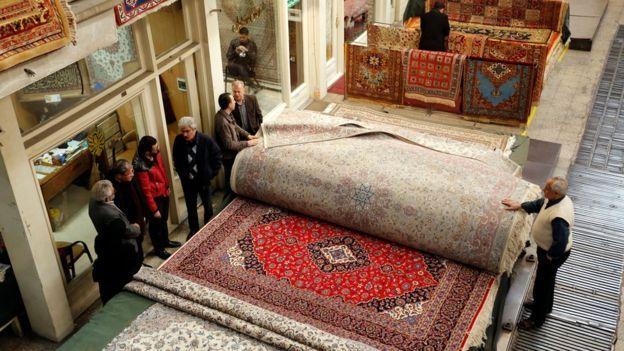 Carpets for sale in Tehran's Grand Bazaar.