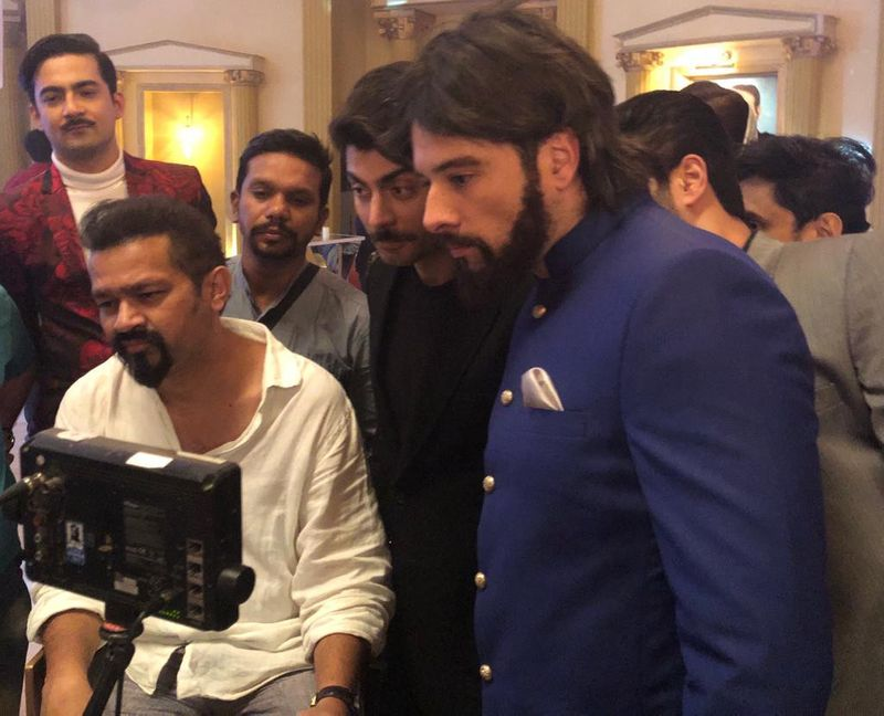 (L-R) Screenwriter and director Faisal Qureshi, Fawad KHan, and Mikaal Zulfiqar on the sets of MONEY BACK GUARANTEE-1574660576833