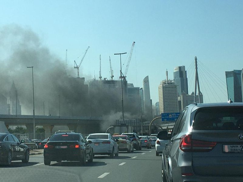 Car on fire WTC roundabout