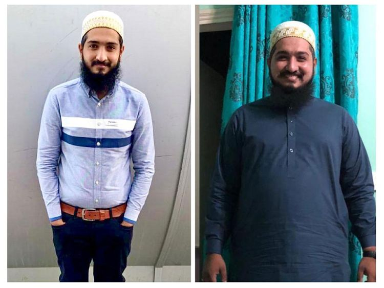 Adnan Muhammad Hussain before (right) and after NEW pic