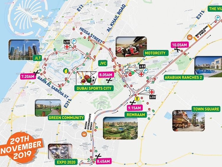 Route map for Spinneys Cycling Challenge