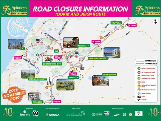 Spinneys cycling challenge road closure information