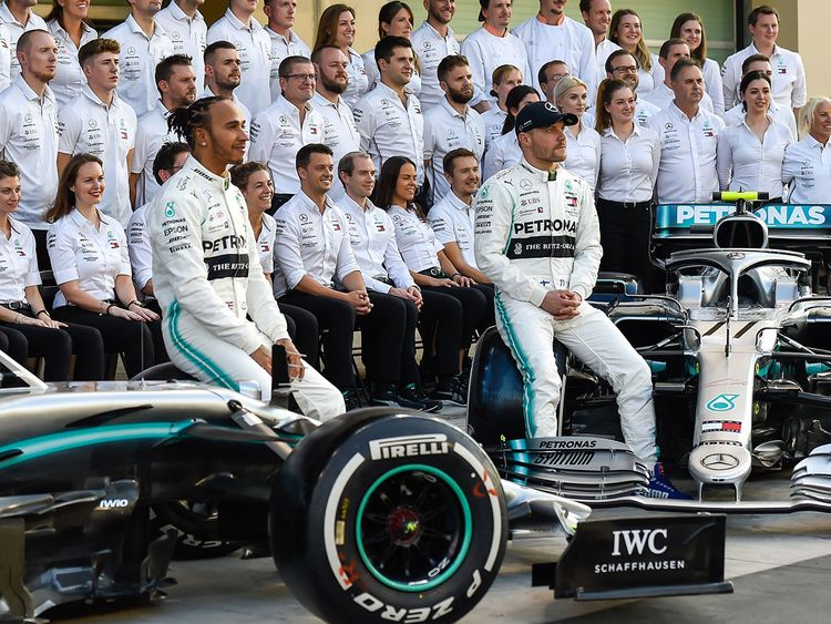 Lewis Hamilton with Mercedes teammate Valtteri Bottas