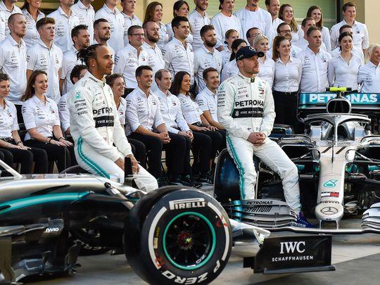 Lewis Hamilton with Mercedes teammate Valtteri Bottas