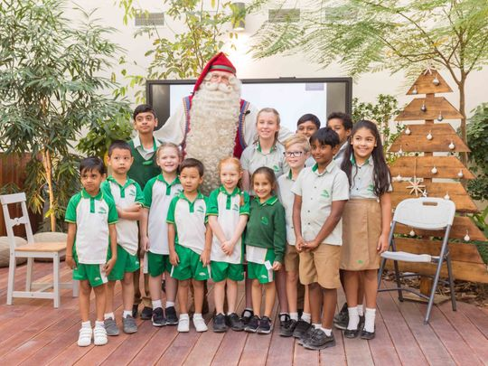 NAT 191128 Santa Claus with the Arbor School students-1574951935927