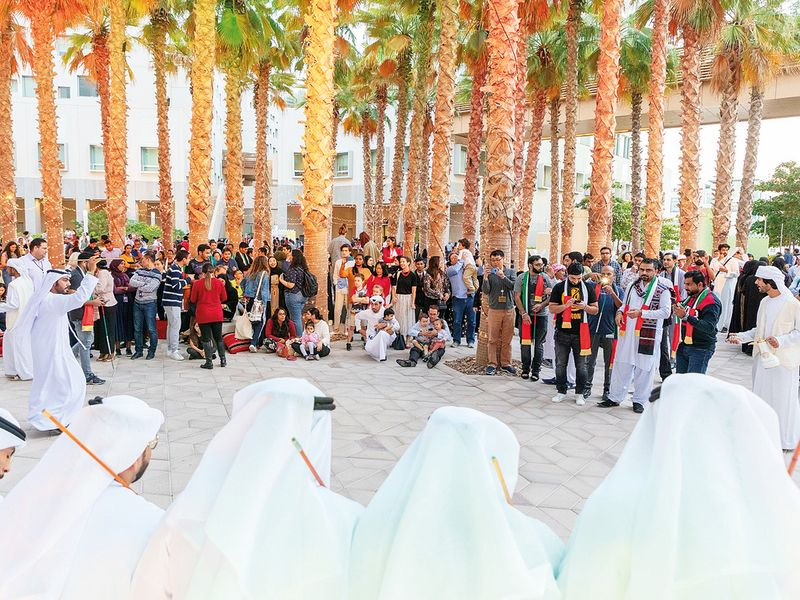 Students and officials at New York University Abu Dhabi join in the celebrations