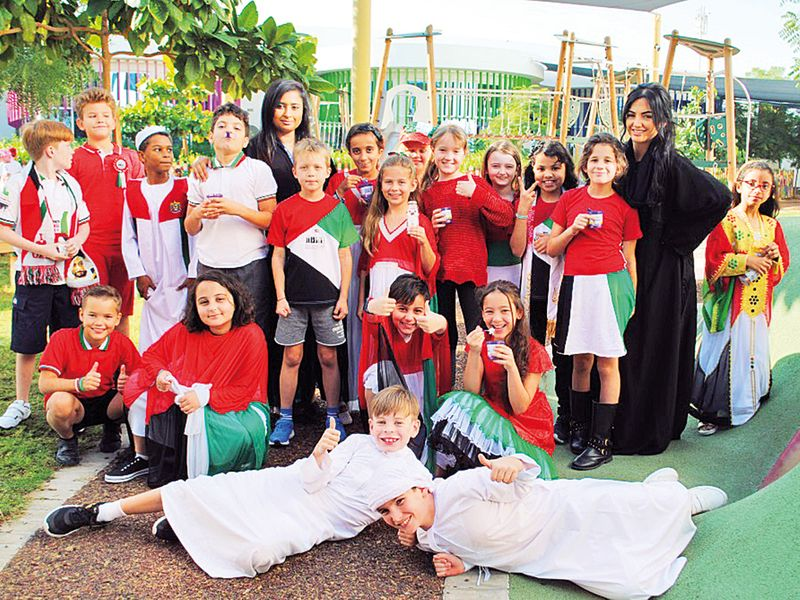 Students and teachers at Dubai Heights Academy soak up the occasion.