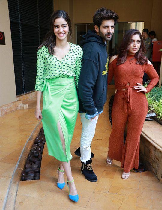 Actors Kartik Aaryan, Ananya Pandey and Bhumi Pednekar