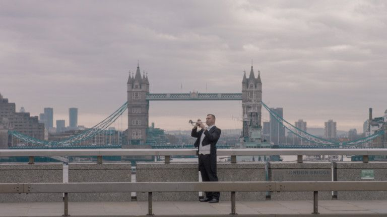 Expo 2020 - National Day Video 2019 - British trumpeter Paul Spong in front of Tower Bridge in London-1575184699859