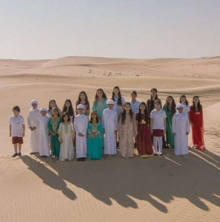 Expo 2020 - National Day Video 2019 - Children from the Raffles World Academy Choir in the Dubai Desert (3)-1575185157440