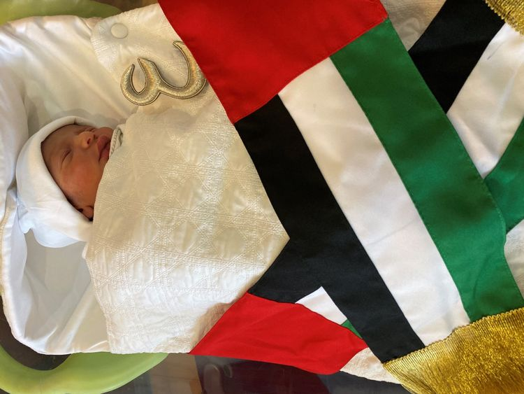 Baby Abdullah Mohammed Al Suwaidi, born at 00:01 am on UAE National Day at Danat Al Emarat Hospital