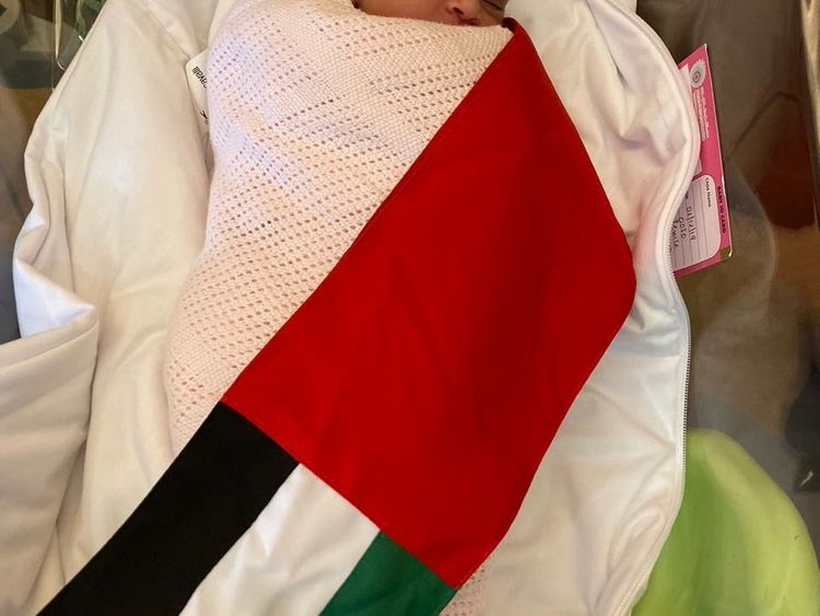 Baby Hind Humaid Abdullah Mubarak, born at 12:30 am on UAE National Day at Danat Al Emarat Hospital