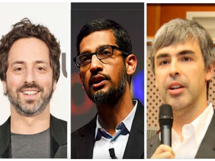 Sergey Brin, Sundar Pichai and Larry Page (left to right)