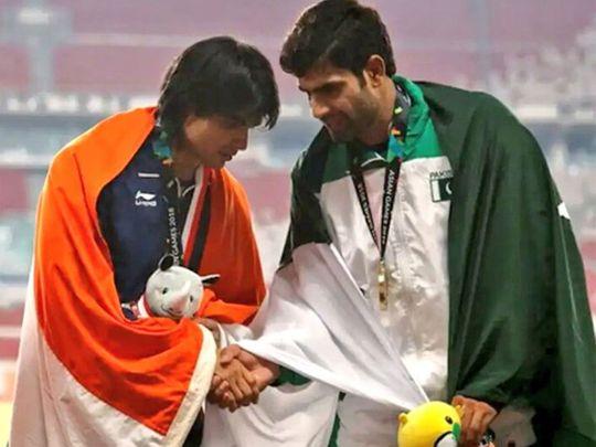 Neeraj Chopra with Arshad Nadeem at 2018 South Asian Games