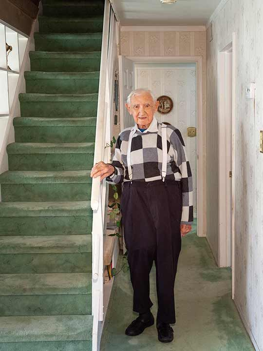 David Wisnia, an Auschwitz survivor  at his home in Levittown