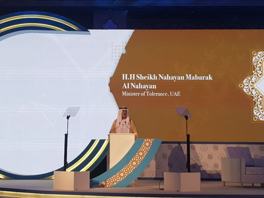 Shaikh Nahyan Al Nahyan, Minister of Tolerance opens Monday's summit in Abu Dhabi