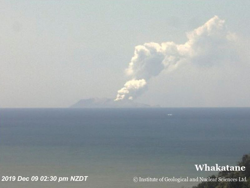 Smoke billows from Whakaari