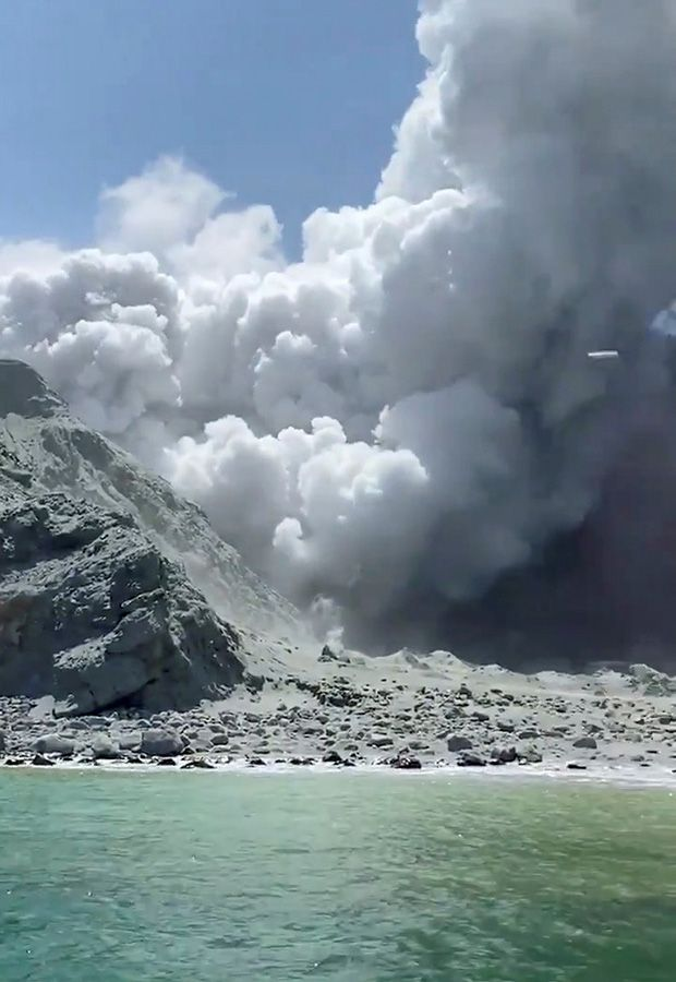 Thick smoke from the volcanic eruption of Whakaari
