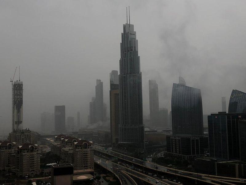 Dubai rain fog