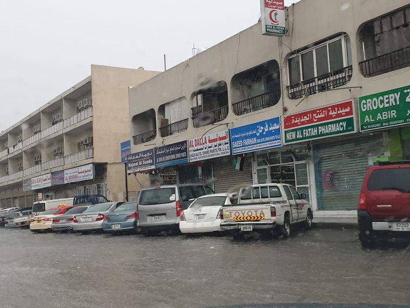 UAE rains Sharjah roads flooded