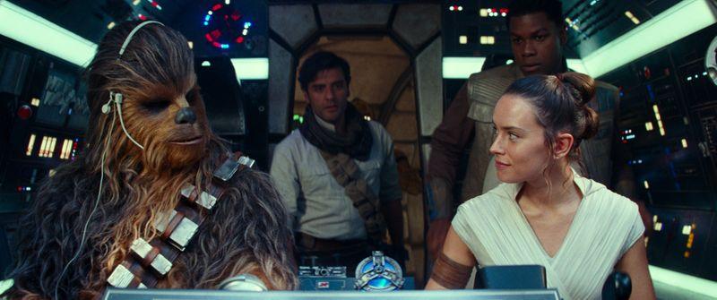8. Joonas Suotamo is Chewbacca, Oscar Isaac is Poe Dameron, Daisy Ridley is Rey and John Boyega-1576330130516